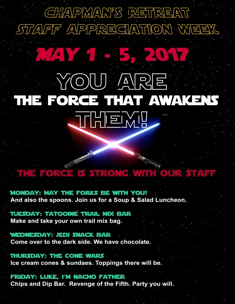 Star Wars Teacher Appreciation Schedule